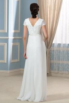 Vestido de novia Imperio Fuera de casa Escote en V Cola Barriba Manga corta