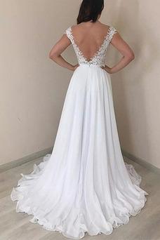 Vestido de novia Elegante Natural Sin mangas Cola Barriba Espalda Descubierta