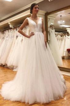 Vestido de novia Baja escote en V Drapeado Escote en V Espalda Descubierta
