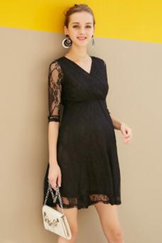 Vestido de noche Encaje Embarazadas Natural Capa de encaje Encaje Corte-A