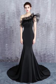 Vestido de fiesta Elegante Cola Barriba Cordón Corte Recto Cascada de volantes