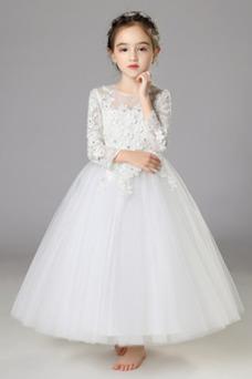 Vestido niña ceremonia Invierno Corte-A Encaje Natural Cremallera Joya