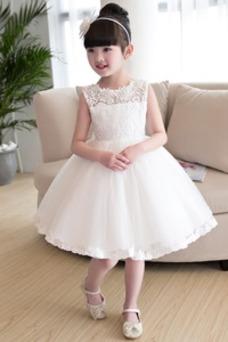 Vestido niña ceremonia Joya Arco Acentuado Otoño Falta Natural Hasta la Rodilla