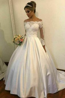Vestido de novia Manga larga Pura espalda Apliques Verano Sala Mangas Illusion