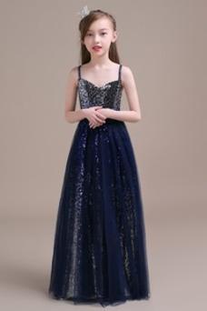 Vestido niña ceremonia Corpiño Con lentejuelas Sin mangas Corte-A Natural
