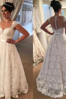 Vestido de novia Sin mangas Queen Anne Hasta el suelo Lazos Capa de encaje