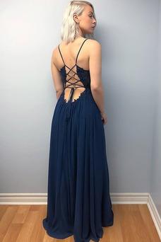 Vestido de fiesta sexy Hasta el suelo Corte-A Espalda Descubierta Capa de encaje