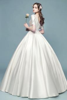 Vestido de novia Camiseta Natural Iglesia Apliques Corte-A Satén