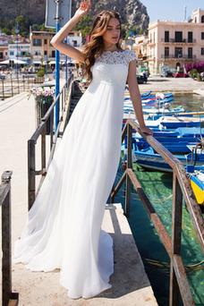 Vestido de novia Embarazadas Sin mangas Cordón Gasa Encaje largo