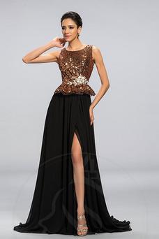 Vestido de noche Corpiño Con lentejuelas Corte-A Formal Joya Sin mangas