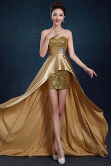 Vestido de noche primavera Satén Elástico Asimètrico Sin mangas Cremallera