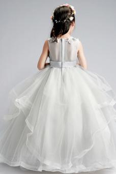 Vestido niña ceremonia Hasta el Tobillo Otoño Apliques tul Rosetón Acentuado
