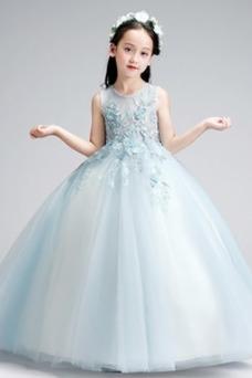 Vestido niña ceremonia Hasta el Tobillo Elegante Falta Natural Cremallera