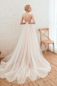 Vestido de novia Corte-A Cola Capilla primavera Natural Apliques Escote en V