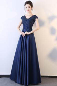 Vestido de fiesta Falta Corte-A Apliques Escote en V Natural Espalda Descubierta
