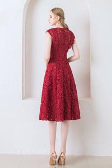 Vestido de cóctel primavera Hasta la Rodilla Encaje Corte-A Joya Encaje
