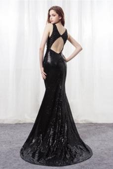 Vestido de fiesta Corte Sirena Sin mangas Corpiño Con lentejuelas Falta