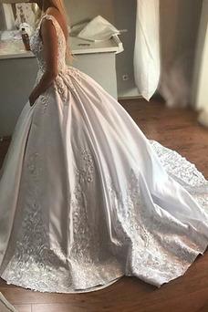Vestido de novia Cremallera Corte-A primavera Triángulo Invertido Cola Catedral