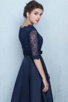 Vestido de dama de honor Drapeado Joya Mangas Illusion Satén Capa de encaje