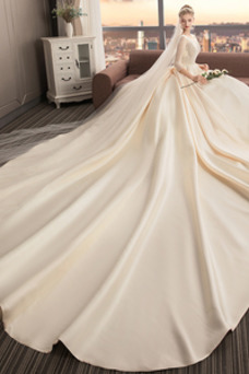 Vestido de novia Drapeado primavera Triángulo Invertido Cola Catedral