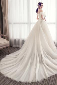 Vestido de novia Encaje Manga tapada Corte-A Capa de encaje primavera