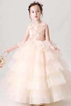 Vestido niña ceremonia Falta Elegante Corpiño Acentuado con Perla Organza