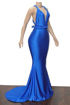Vestido de fiesta sexy Corte Sirena Espalda Descubierta Escote en V Satén Elástico