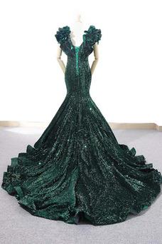 Vestido de fiesta Corte Sirena Natural Cascada de volantes Escote en V