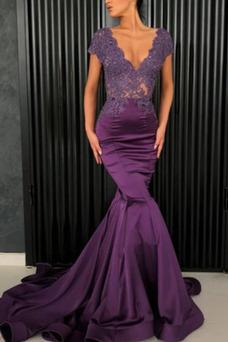 Vestido de fiesta Corte Sirena Transparente largo Elegante Baja escote en V