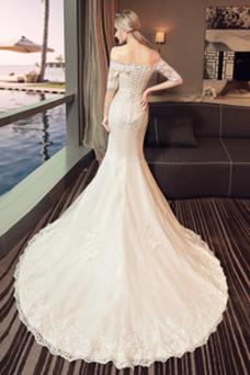 Vestido de novia Natural La mitad de manga Cordón Arco Acentuado Corte Sirena