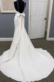 Vestido de novia Corte Sirena Sin mangas Falta Lazos Verano Cola Corte