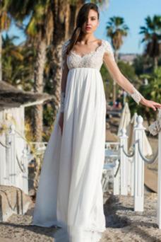 Vestido de novia Espalda Descubierta Natural Abalorio Escote en V Gasa