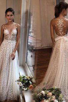 Vestido de novia Encaje Espalda Descubierta Natural Fuera de casa Hasta el suelo