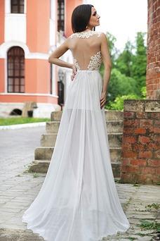 Vestido de novia Sin mangas largo Apliques Fuera de casa Escote en V