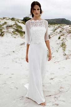 Vestido de novia Encaje Cola Barriba Romántico Natural Con Chaqueta