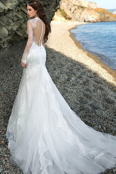 Vestido de novia Encaje Otoño Corte Sirena Escote con cuello Alto Encaje