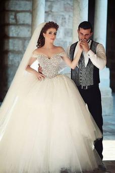Vestido de novia Natural Bola Otoño tul Cordón Mangas Illusion