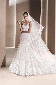 Vestido de novia Corte Sirena Sin mangas Barco Otoño Natural Cola Capilla