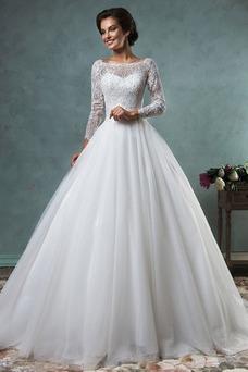 Vestido de novia Barco Cola Capilla Otoño tul Corte-A Natural