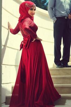 Vestido de novia Manga larga Corte-A Alto cubierto Natural Escote con cuello Alto