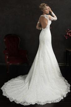 Vestido de novia primavera Corte-A Espalda medio descubierto Escote con cuello Alto