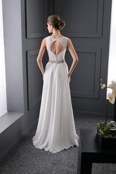 Vestido de novia Playa primavera Espalda con ojo de cerradura Cristal