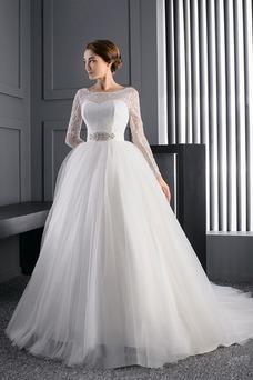 Vestido de novia Manga larga Iglesia Mangas Illusion Cristal tul Corte princesa