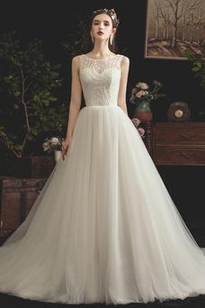 Vestido de novia Cola Barriba primavera Barco Pera Corte-A Natural