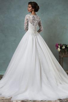 Vestido de novia Clasicos Sala Alto cubierto tul Botón Mangas Illusion