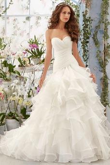 Vestido de novia Invierno Organza Natural Sala Volantes Adorno Glamouroso