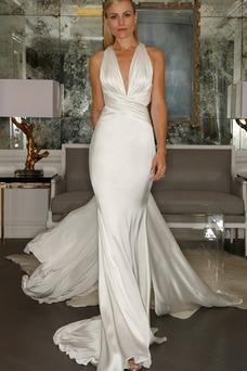 Vestido de novia Cola Barriba Fuera de casa Satén Elástico Natural Corte Recto