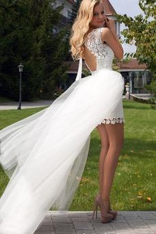 Vestido de novia Playa Apertura Frontal Manga corta Cremallera Cola Panel