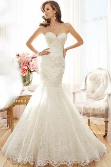 Vestido de novia Natural Escote Corazón Apliques Corte Sirena primavera