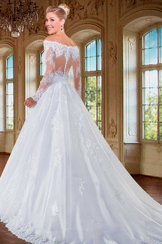 Vestido de novia Cremallera Manga larga Flores Sala Escote con Hombros caídos